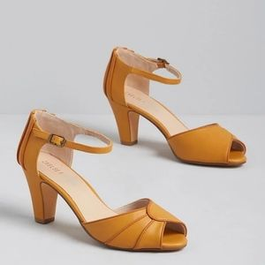 Modcloth Best Day Ever Mustard Ankle Strap Heel 6